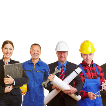 41259819 - white and blue collar worker as a team holding thumbs up